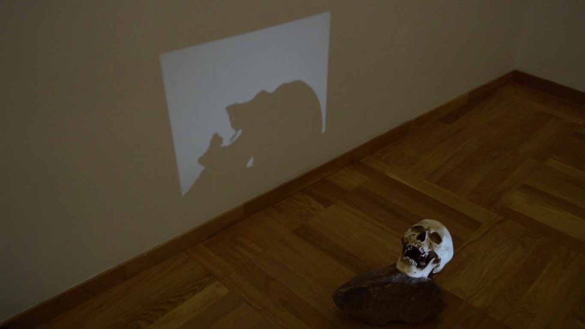 JUAN ZAMORA 'Bajo el cielo de la boca' Video projection on human skull and granite stone. Variable size. 2014